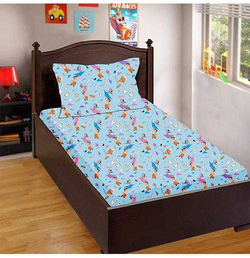 Chhota Bheem Cot-Crib Bed Sheet and Pillow Set (Blue)