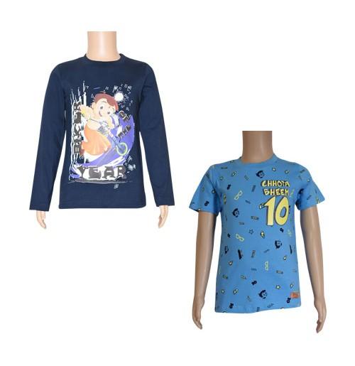 Chhota Bheem T-shirts- Combo Navy Blue and Sky Blue