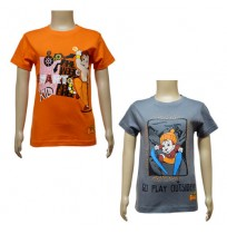 Boys T-Shirt Combo - Orange & Dark Grey
