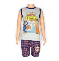 Chhota Bheem Night Suit - Grey Melange