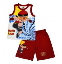 Mighty Raju Short Set - White & Red