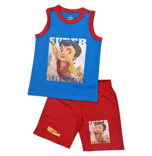 Super Bheem Short Set - Blue & Red