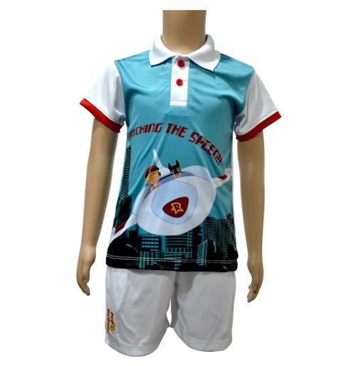Poly Polo and Shorts - Tiffany Blue