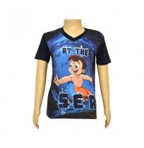 Chhota Bheem Sublimation Navy Blue T-shirt