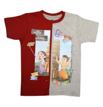 Chhota Bheem T Shirt - Red, Grey & Melange