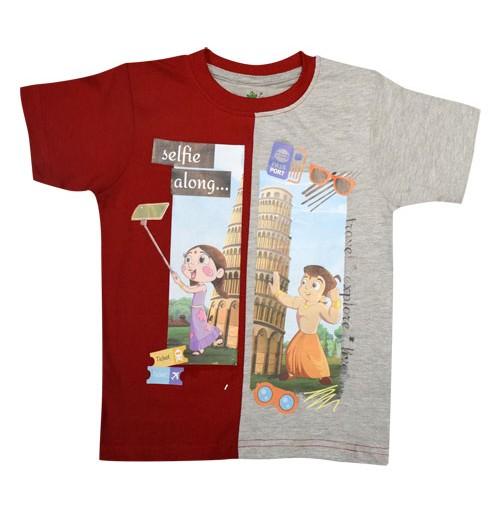Chhota Bheem T Shirt - Red, Grey & Melange