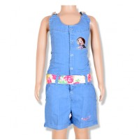 Chutki Girls Denim Dungrees - Light Blue