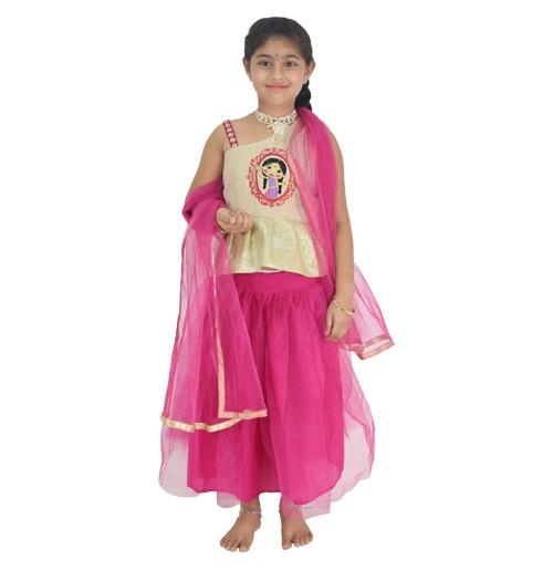 Ethnic Wear - Girls Ghagra Choli 3 Pc Set