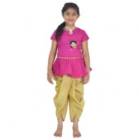 Ethnic Wear - Girls Top With Dhoti 2 Pc Set