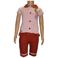 Chutki Night Dress - Pink & Brown