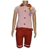 Chutki Night Dress - Pink & Brown