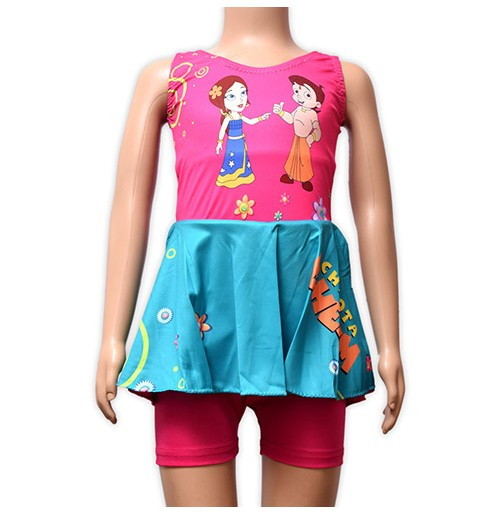 Chhota Bheem Girls Swimwear - Pink and Green