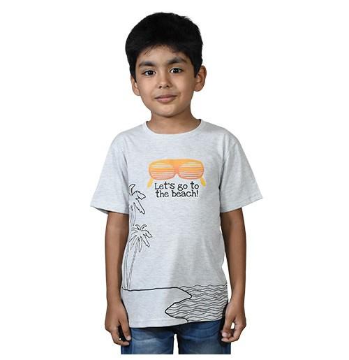 Chhota Bheem - Lets Go to the Beach Half Sleeve T-Shirt - Grey Melange