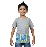 Chhota Bheem Beach Surf Half Sleeve T-Shirt -Grey Melange