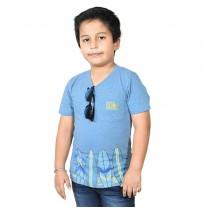 Chhota Bheem Beach Surf Half Sleeve T-Shirt -Sky Blue