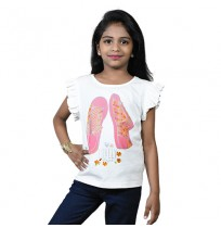 Chutki Lovely Days Girls Half Sleeve T-Shirt - White