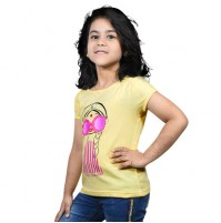 Chutki Hello Summer Half Sleeve T-Shirt - Light Yellow
