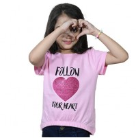 Chutki Follow Your Heart Half Sleeves T-Shirt Pink