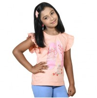 Chutki Lovely Days Girls Half Sleeve T-Shirt - Orange