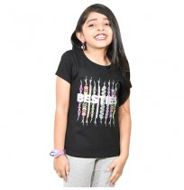 Chutki Besties Girls Half Sleeve T-Shirt - Black