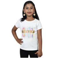 Besties Girls Half Sleeve T-Shirt - White