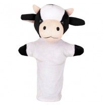Cow Hand Puppet Black White - Height 26 cm