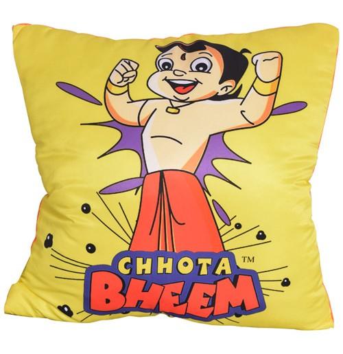 Chhota Bheem Cushion - Showing Strength - Yellow