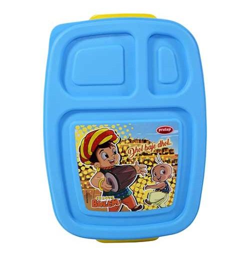 Chhota Bheem 3 Compartment Lunch Box Yellow-Blue