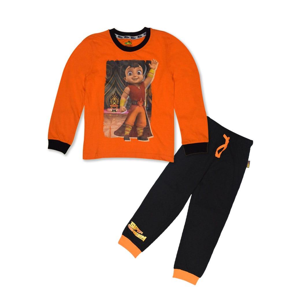 Super Bheem Night Suit Orange and Black