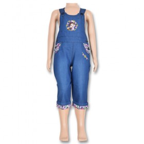 Chutki Girls Denim Dungrees-Blue-1